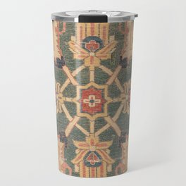 Geometric Leaves VI // 18th Century Distressed Red Blue Green Colorful Ornate Accent Rug Pattern Travel Mug