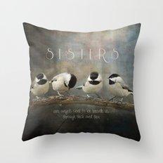Sisters - Chickadees - Birds Throw Pillow