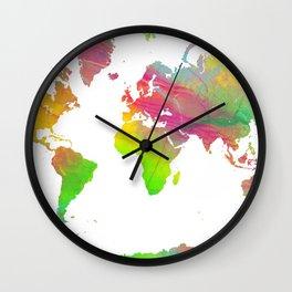 World Map - Watercolor 9 Wall Clock