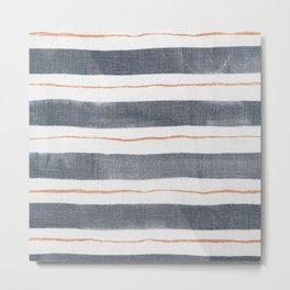 Denim, White, Rose Gold stripes Metal Print