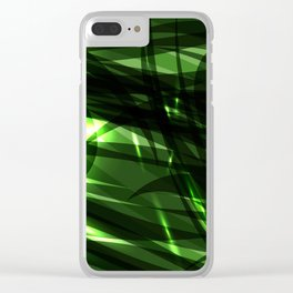 Green and smooth sparkling lines of grass on the theme of space and abstraction. Clear iPhone Case