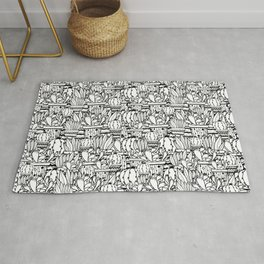 Potted plants black and white cactuses and succulents Rug