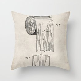 Toilet Paper Patent - Bathroom Art - Antique Throw Pillow