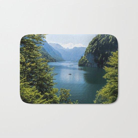 Germany, Malerblick, Koenigssee Lake III- Mountain Forest Europe Bath Mat