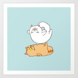 Acroyoga Cats Art Print