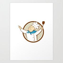 Chef Cook Arms Out Spatula Circle Cartoon Art Print