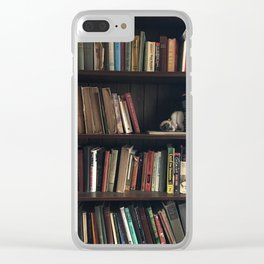 The Bookshelf in the Library, portrait, vibrant Clear iPhone Case