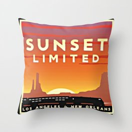 Vintage poster - Sunset Limited Throw Pillow