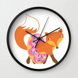 Fox and doughnut Wall Clock