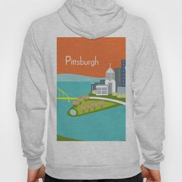 Pittsburgh, Pennsylvania - Skyline Illustration by Loose Petals Hoody