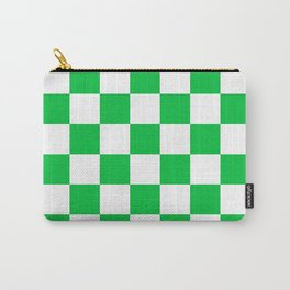 Checkered - White and Dark Pastel Green Carry-All Pouch