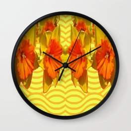 Golden Daffodils Pattern Wall Clock