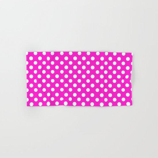 Polka Dots (White/Hot Magenta) Hand & Bath Towel