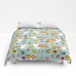 Corgi welsh corgi emoji pattern cute funny dog gifts emojis with corgis Comforters