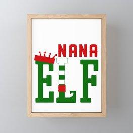 Womens Nana Granma Elf Christmas Grandmother Gift Framed Mini Art Print