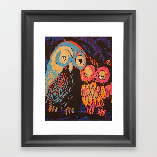 Psychedelic Owls Framed Art Print