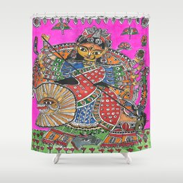 Madhubani - Pink Durga Shower Curtain