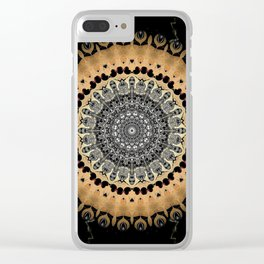 Black Marble with Gold Brushed Mandala Clear iPhone Case