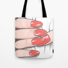 'Hold me tight don't let me go' -Seductive red nails. Ashley Rose Standish Tote Bag
