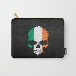 Flag of Ireland on a Chaotic Splatter Skull Carry-All Pouch