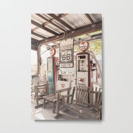 Vintage Gas Station On Historic Route 66 Photo | Arizona Roads Art Print | USA Travel Photography Metal Print
