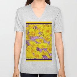 YELLOW LILAC FLOWERS  MODERN ART  PATTERN Unisex V-Neck