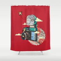 vintage camera Shower Curtains featuring Camera by dmirilen