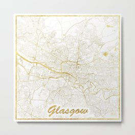Glasgow Map Gold Metal Print