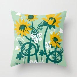 The awakening of sunflowers Throw Pillow