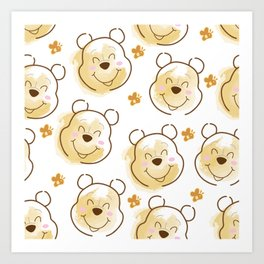 Inspired Pooh Bear surrounded with bees Pattern on White background Art Print