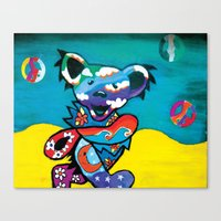 grateful dead Canvas Prints featuring Grateful Dead Bear Blue by Chelsea Kalman Art
