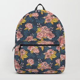 Moody Florals - Blue + Pink Backpack