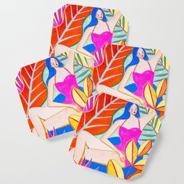 Girl and Colorful Leaves Coaster
