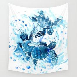 Three Sea Turtles, blue bathroom turtle artwork, Underwater Wall Tapestry