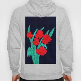 Red flowers gladiolus art nouveau style Hoody