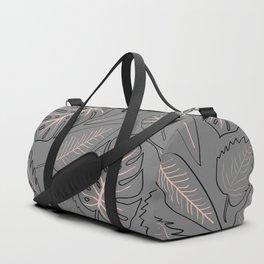Monstera grey leaves Duffle Bag