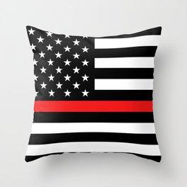 Firefighter: Black Flag & Red Line Throw Pillow