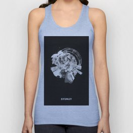 Sydney, Australia Black and White Skyround / Skyline Watercolor Painting (Inverted Version) Unisex Tank Top