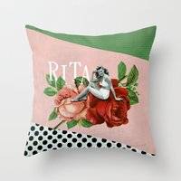 wasted rita Throw Pillows featuring rita by Rosa Picnic