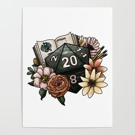 Dungeon Master D20 Tabletop RPG Gaming Dice Poster