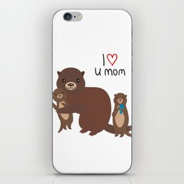I Love You Mom. Funny brown kids otters with fish on white background. Gift card for Mothers Day. iPhone Skin