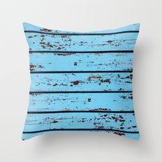 Blue Wooden Planks Throw Pillow
