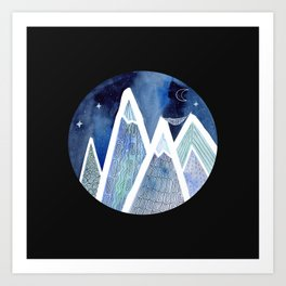 Sleeping on Top of the World with black background Art Print