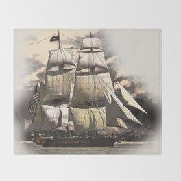 sailing ship vintage Throw Blanket