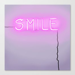 Smile Neon Sign Canvas Print