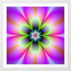 Neon Flower in Green and Pink Art Print