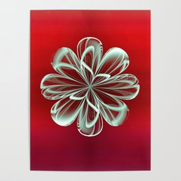 Cyan Bloom on Red Poster