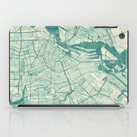 vintage map iPad Cases featuring Amsterdam Map Blue Vintage by City Art Posters