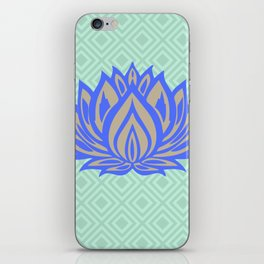 Lotus Meditation Mint Blue Throw Pillow iPhone Skin