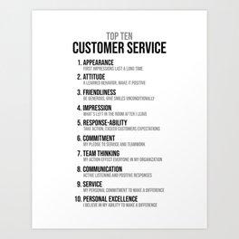 Ten Customer Service, Office Decor Ideas, Wall Art Art Print